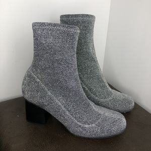 TOPSHOP silver sparkle booties